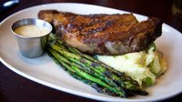 Steak and asparagus at T. Morris Pub and Grill
