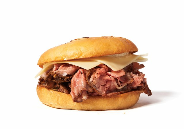 Roast beef and Swiss cheese on an onion roll