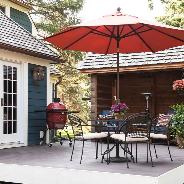 patio setting with table and chairs