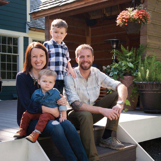 a family on their backyard patio