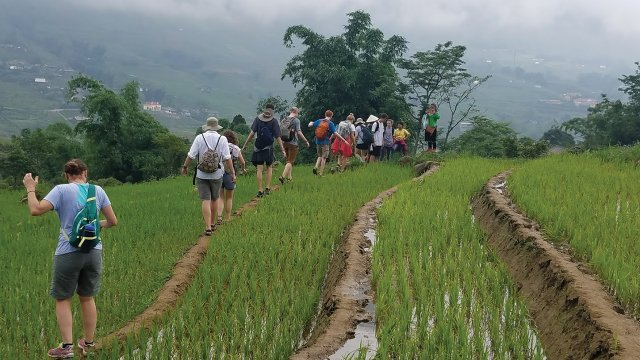 A group of students studying abroad in Vietnam