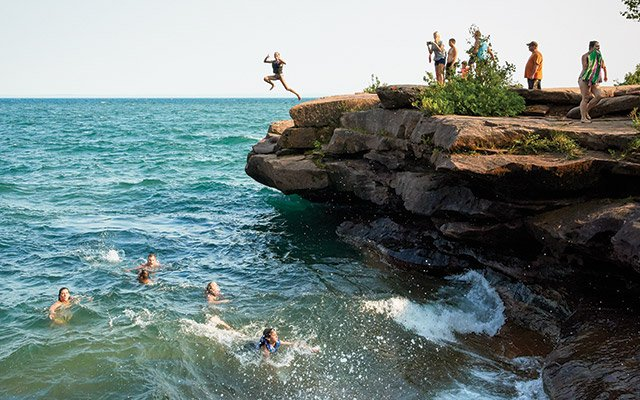 Cliff jumping into Superior in Madeline's Big Bay State Park.