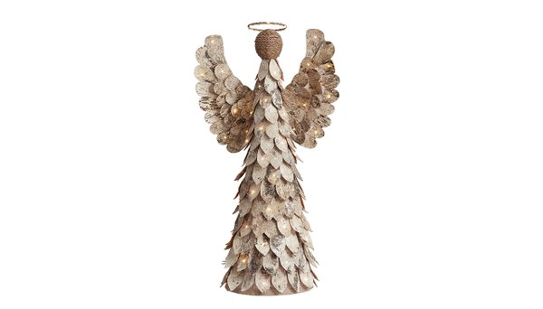 Lit glitter birch angel from Pottery Barn