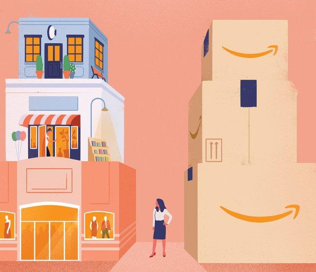Illustration of Minneapolis retailers and Amazon