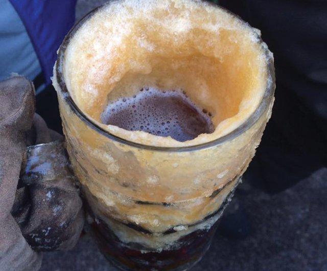 A frozen mug of Schell's back beer