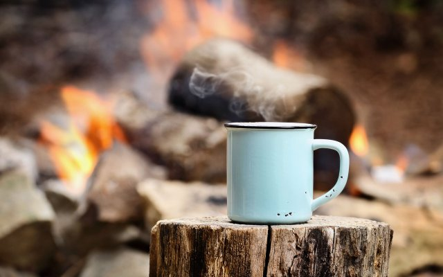 Bonfire with mug