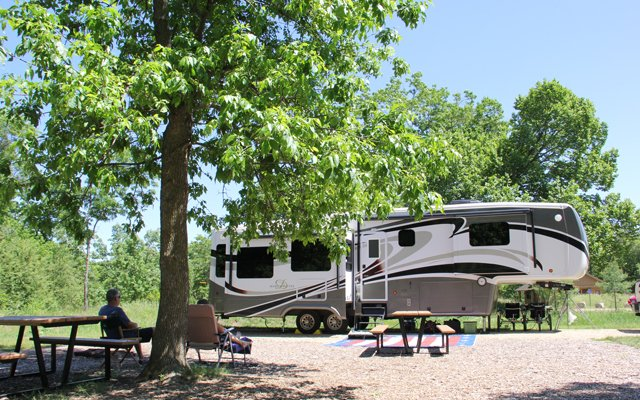 Camper at Bunker Hills campground in Coon Rapids
