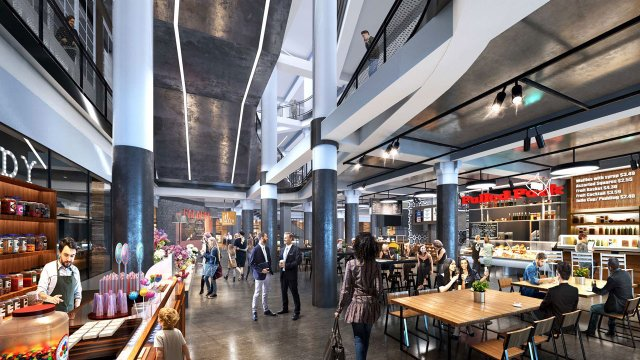 Food hall rendering at Dayton's Project