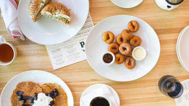 bagel sandwich and mini donuts