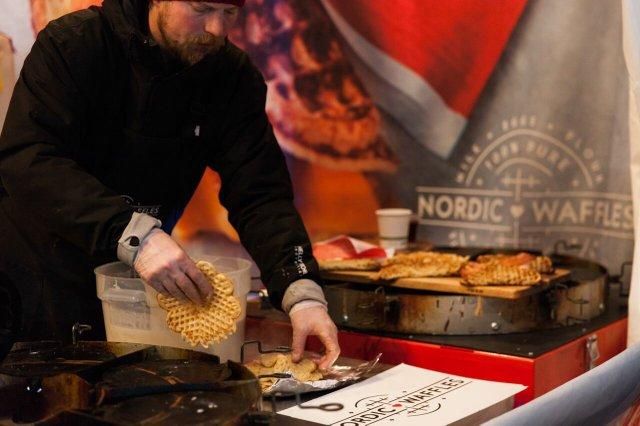 Man making Nordic Waffles.
