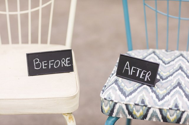 Two chairs with before and after signs on them.