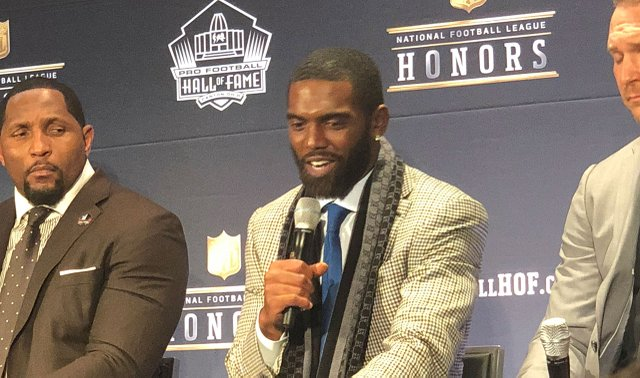 Randy Moss at NFL Hall of Fame induction