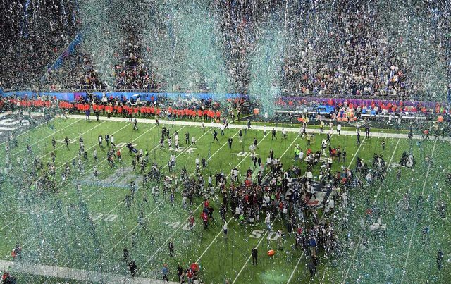 Super Bowl LII celebration on the field after the Eagles win