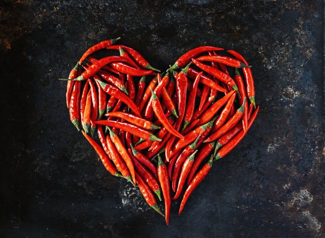Chili peppers in the shape of a heart