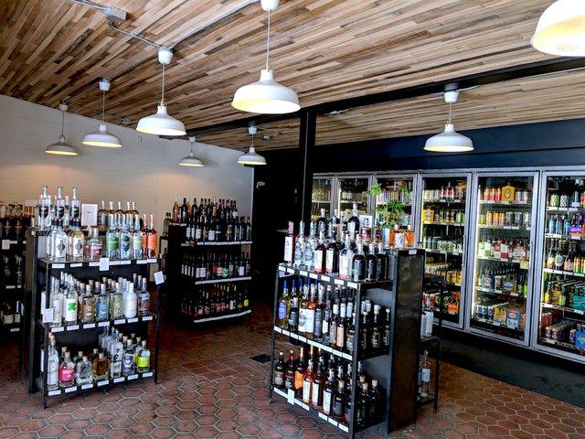 Interior of Ombibulous liquor store
