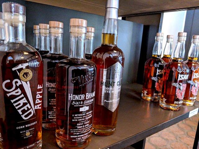 Whiskey shelf at Ombibulous