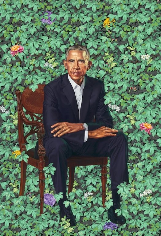 Barack Obama presidential portrait by Kehinde Wiley