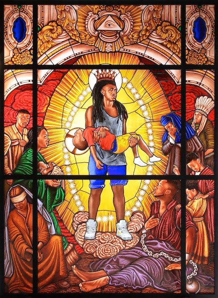 Brad Ogbonna in Kehinde Wiley Stained Glass