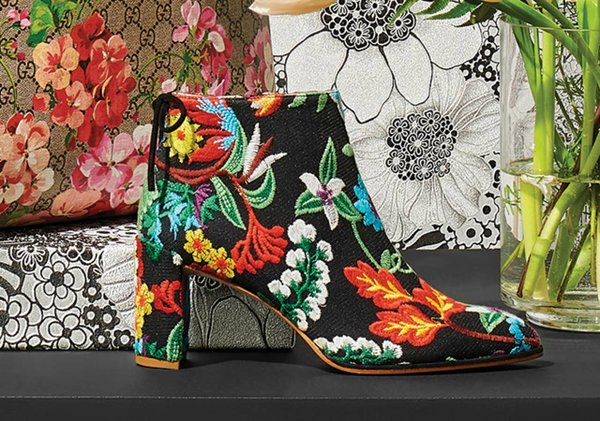 embroidered bootie by Stuart Weitzman