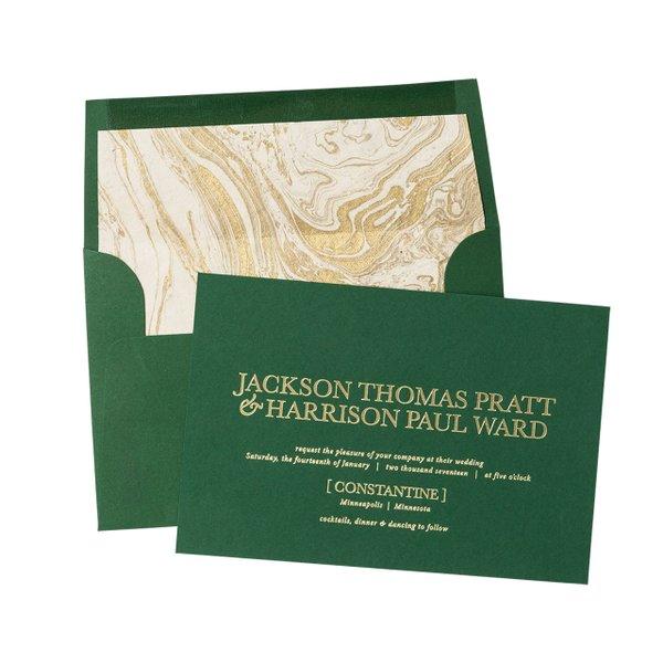 Green wedding invitation.
