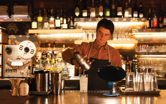 Bartender Adam Gorski at Young Joni's back bar