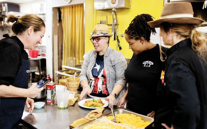 Chef Shack's Lisa Carlson and Carrie Summer at a SheCooks event.