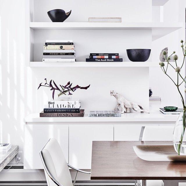Built-in bookshelves.