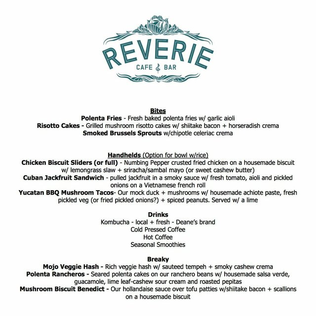 Reverie Food Truck - start up menu
