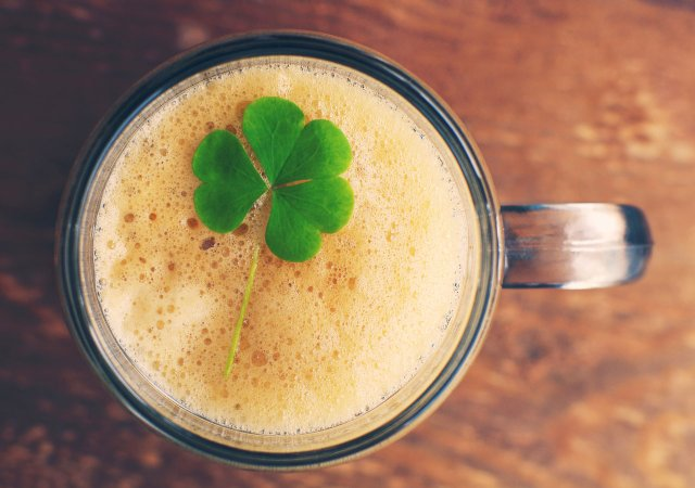 Mug of beer with a shamrock on top.