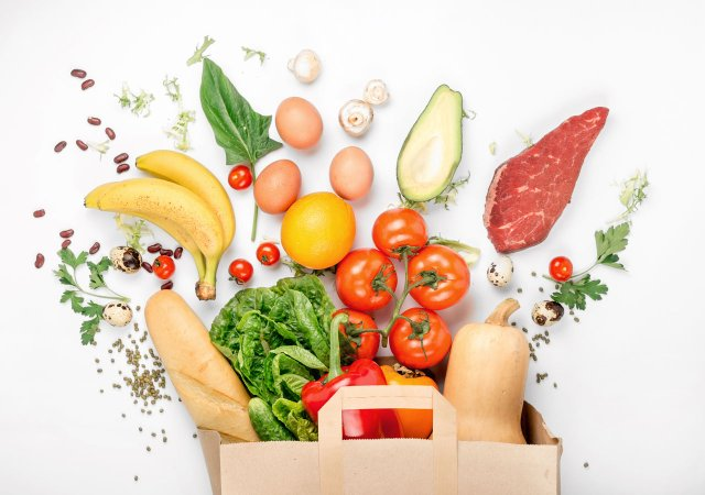 Healthy food in shopping bag