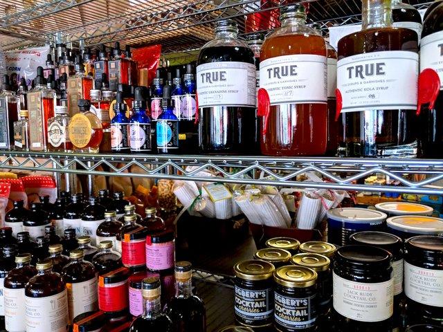 Bar cart supplies at Golden Fig