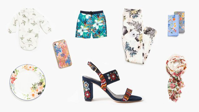 Floral printed items.