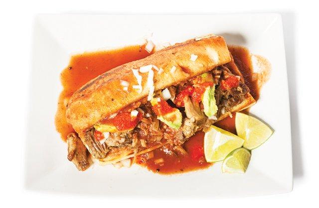 Torta Ahogada sandwich from La Familia Tapatia