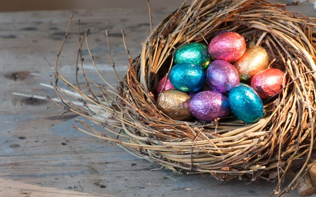 Chocolate easter eggs in a nest.