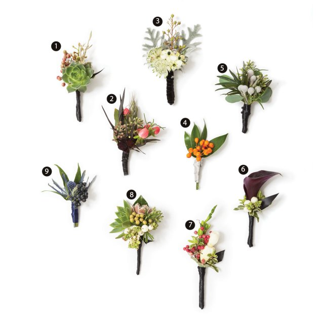 Berry-accented wedding boutonnieres.