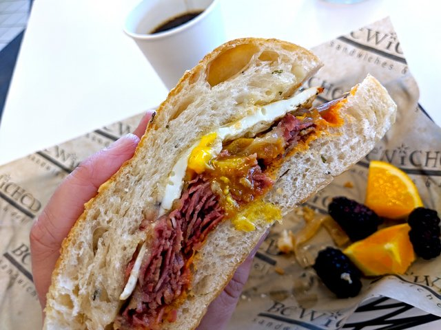 Pastrami and egg sandwich at Be'Wiched Deli
