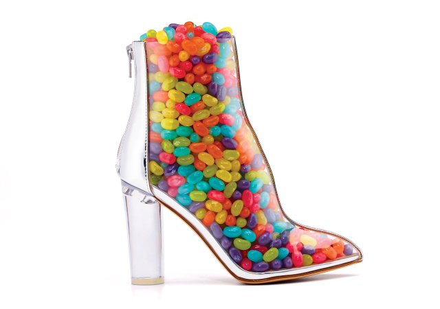 Transparent boot filled with jellybeans