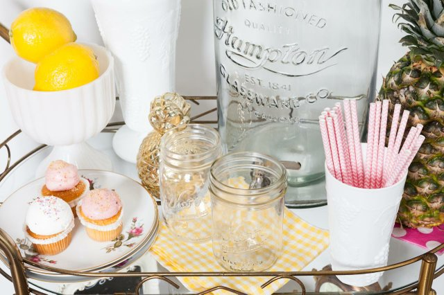 mason jars, pineapple, lemon, and mini cupcakes