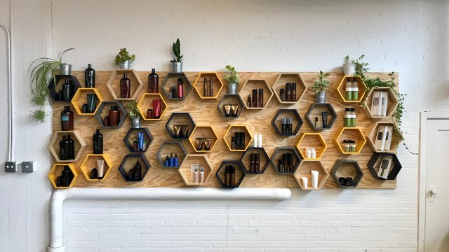 Retail display at The Hive Salon.