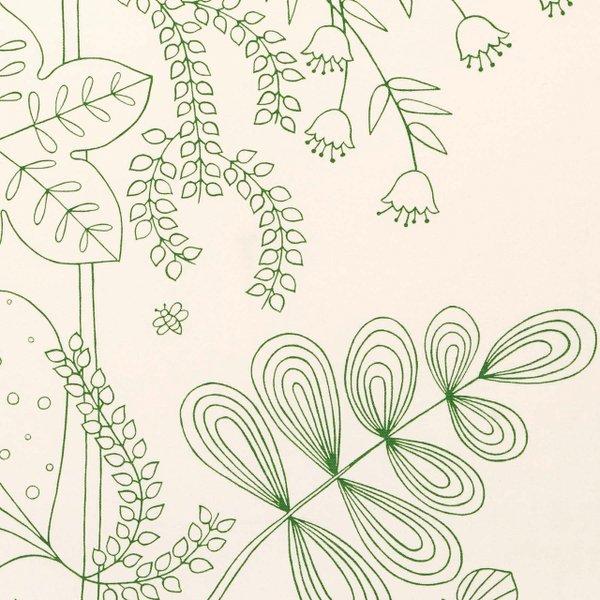 White botanical print fabric.