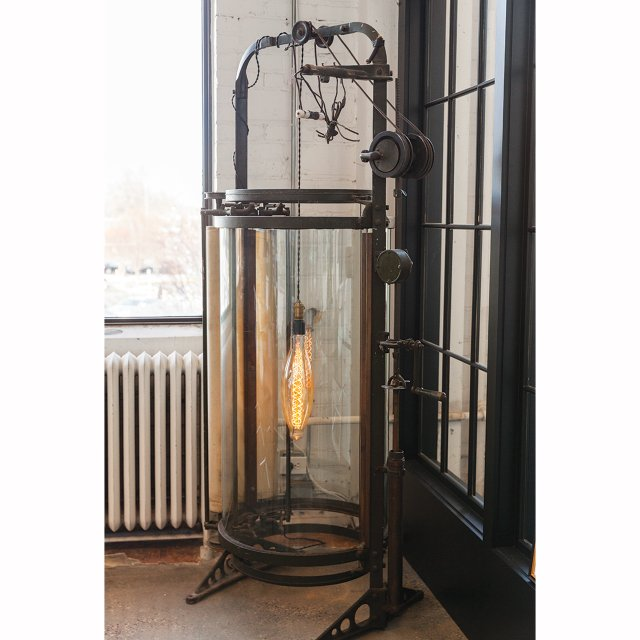 Lamp fashioned from early twentieth century blueprint copy machine