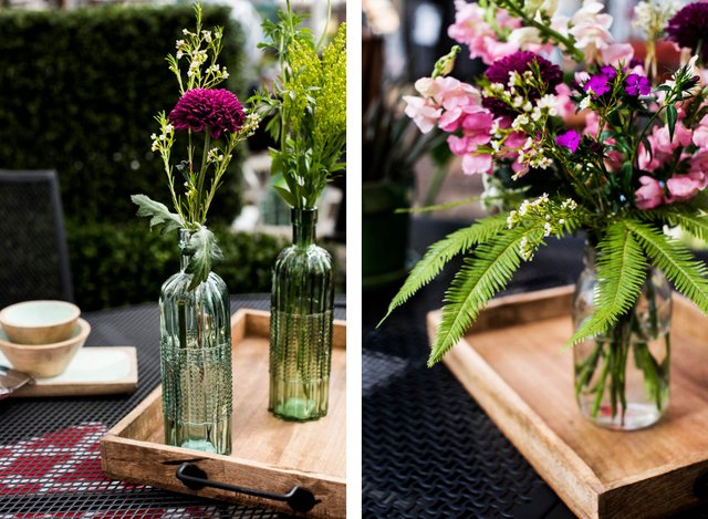 Outdoor floral centerpieces