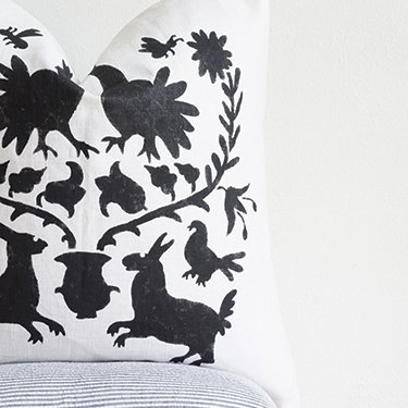 Black and white printed pillow.