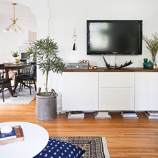 White floating media console.