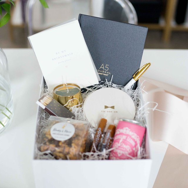 Box of gifts for bridesmaids