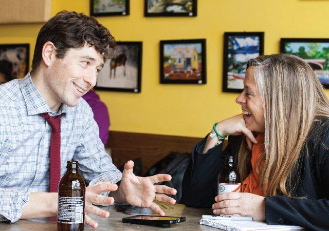 Mayor Jacob Frey and Stephanie March