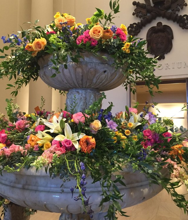 Fountain florals at Art in Bloom