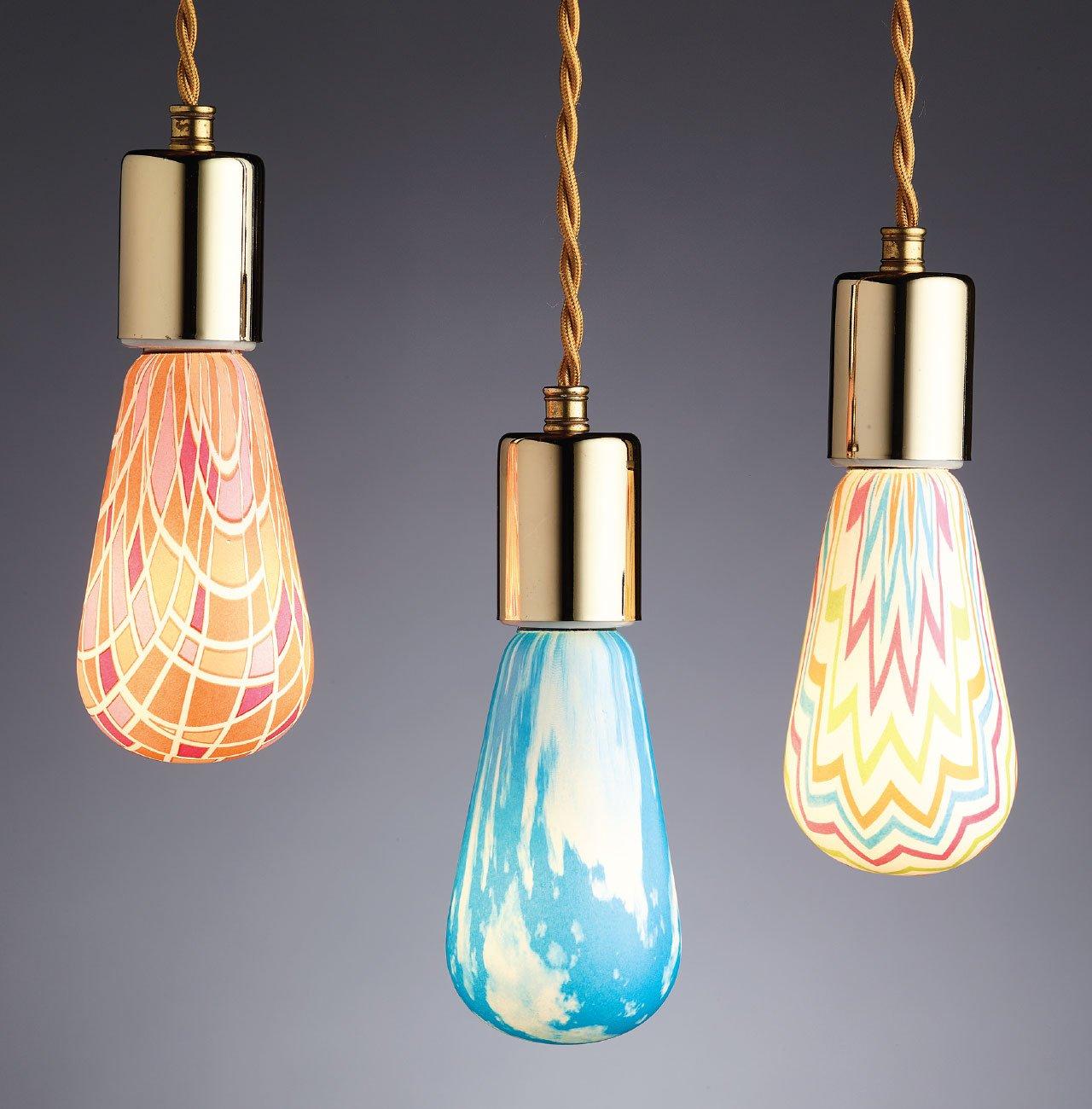 Bright idea hand printed light bulbs