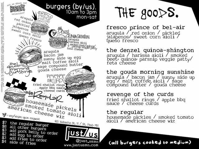 Lunch burger menu at just/us in St. Paul