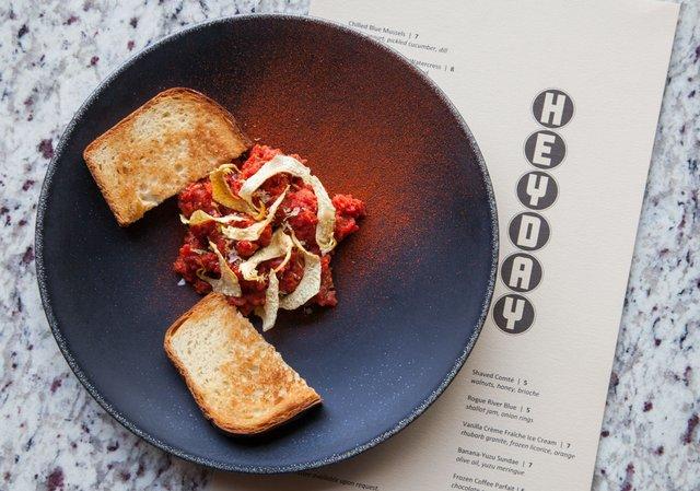 Dish and menu at Heyday